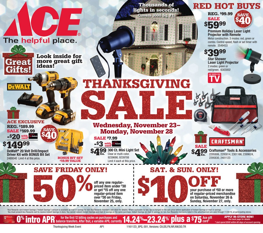 Ace Hardware 2016 Black Friday Ad Page 1