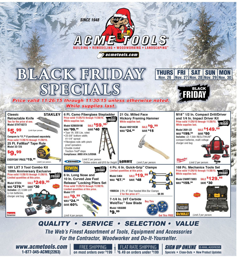 ACME Tools 2015 Black Friday Ad Page 1