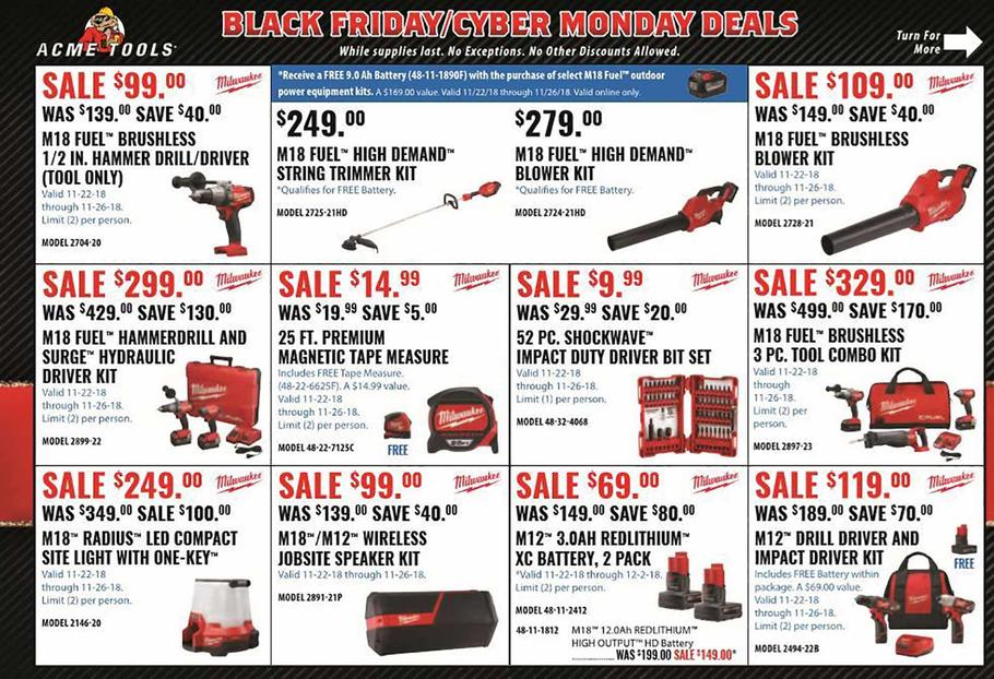 ACME Tools 2018 Black Friday Ad Page 1