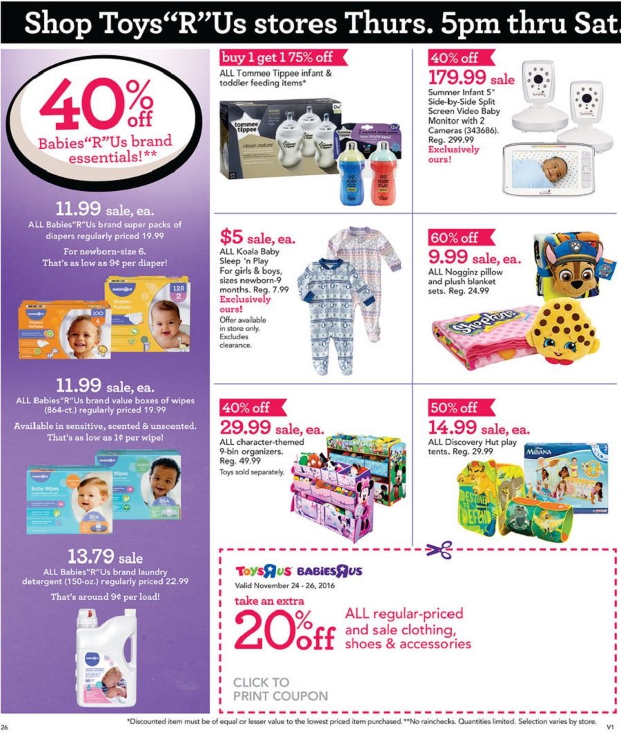 BabiesRUs 2016 Black Friday Ad Page 1