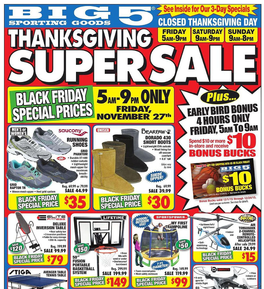 Big 5 Sporting Goods 2015 Black Friday Ad Page 1