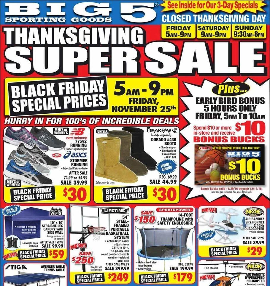 Big 5 Sporting Goods 2016 Black Friday Ad Page 1