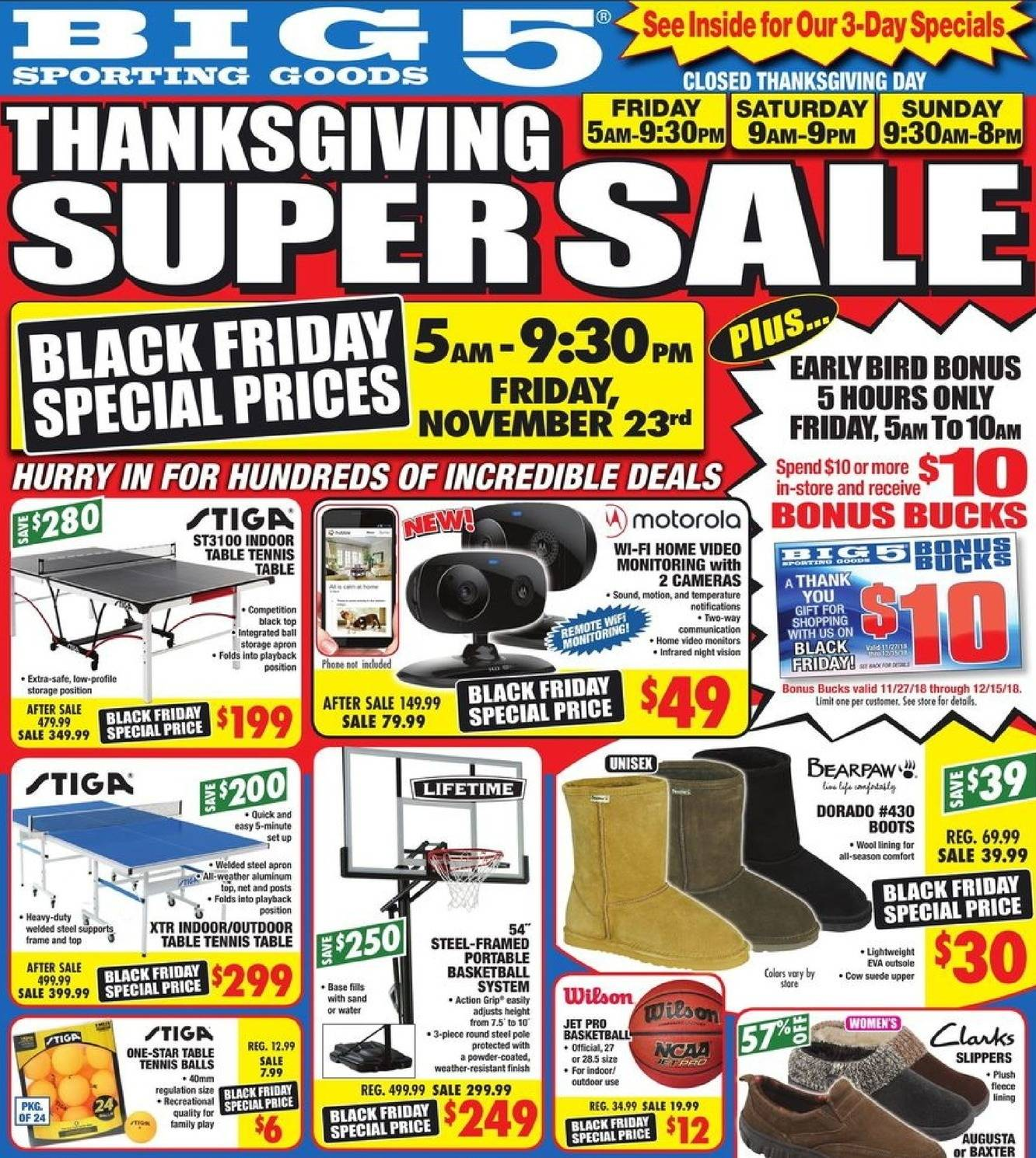 Big 5 Sporting Goods 2018 Black Friday Ad Page 1