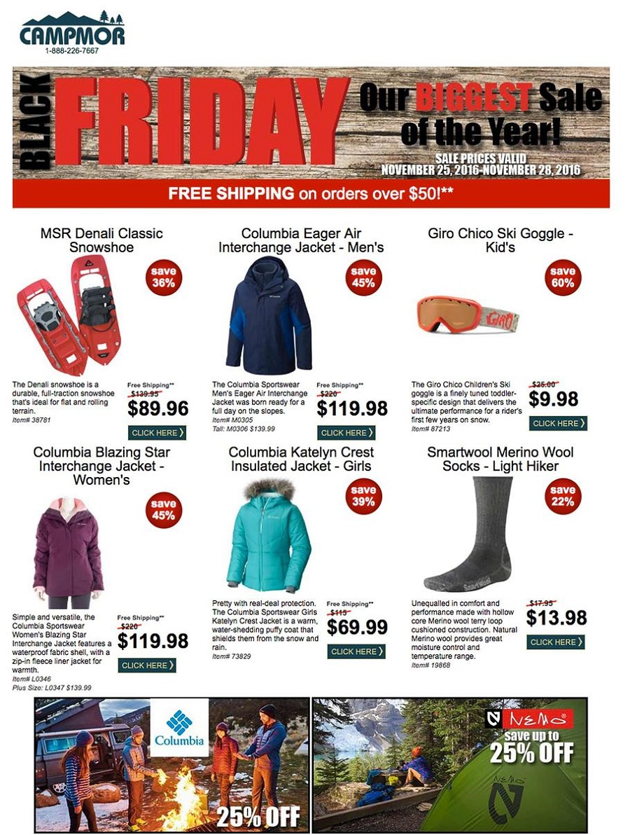 Campmor 2016 Black Friday Ad Page 1