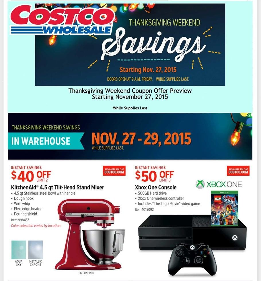 Costco Wholesale 2015 Black Friday Ad Page 1