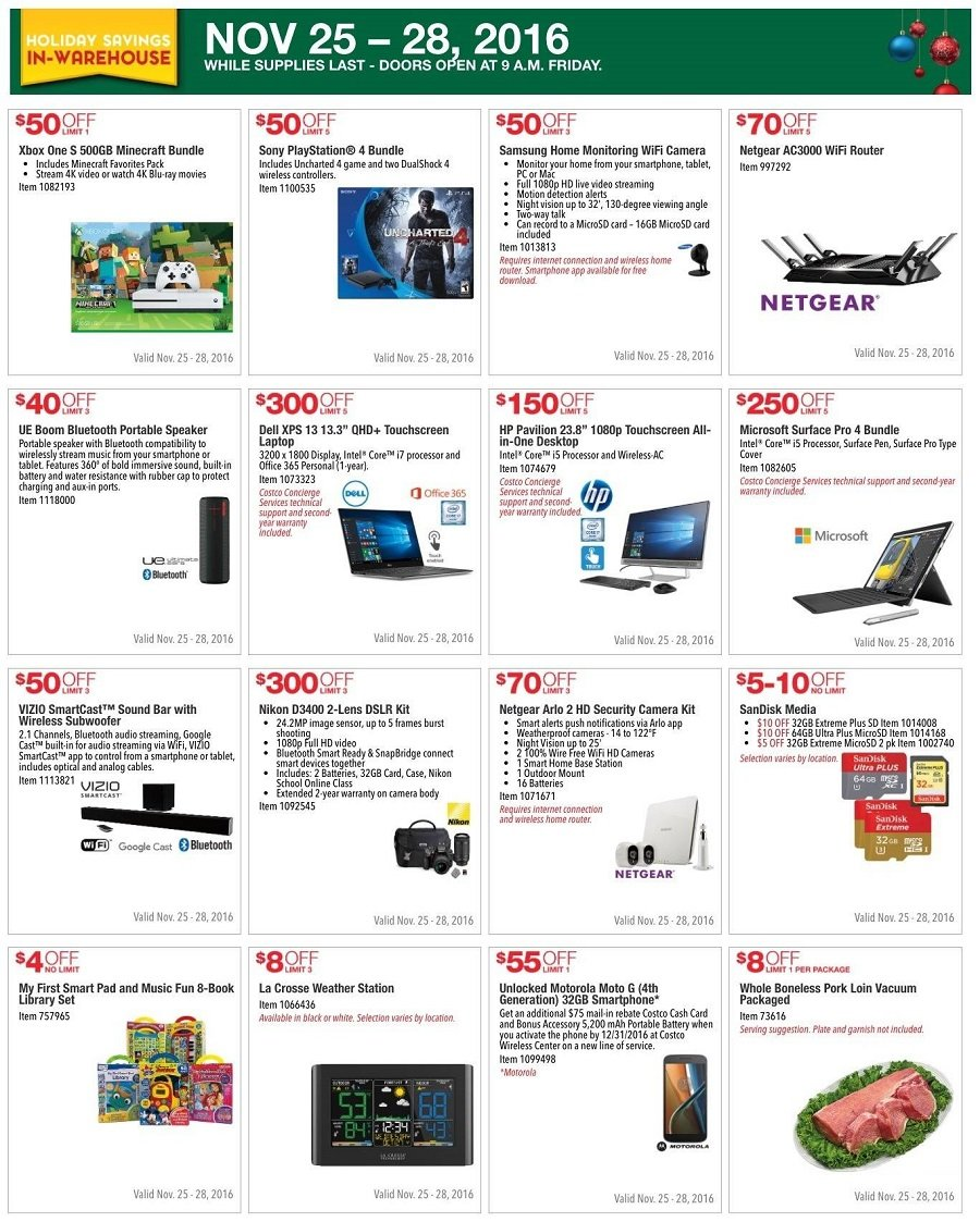 Costco Wholesale 2016 Black Friday Ad Page 1