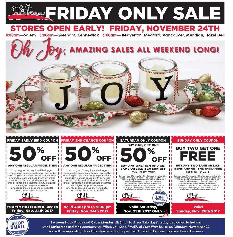 Craft Warehouse 2017 Black Friday Ad Page 1