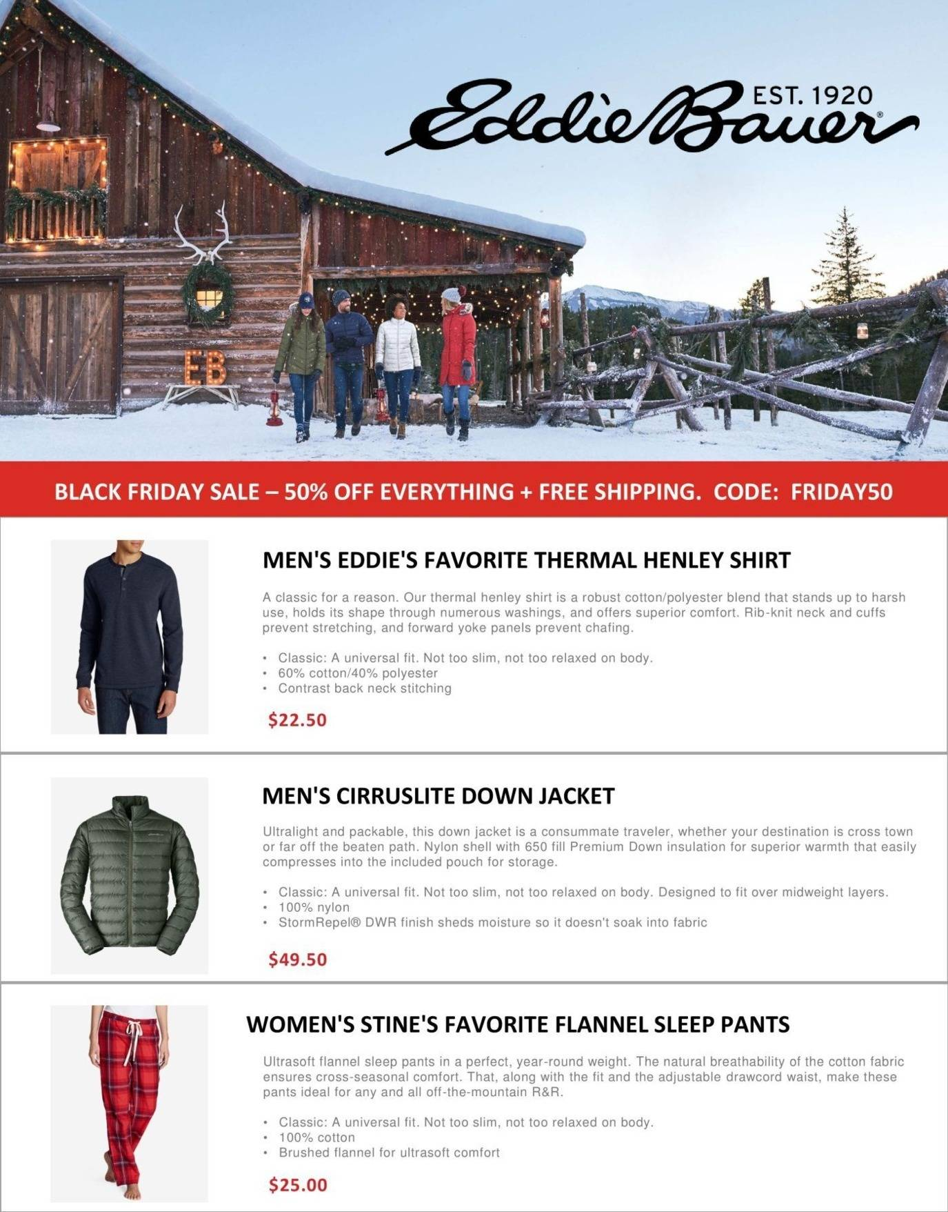 Eddie Bauer 2018 Black Friday Ad Page 1
