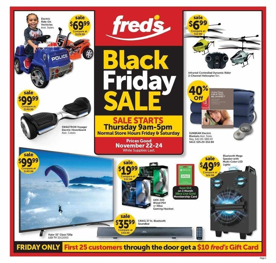 Fred's Pharmacy 2018 Black Friday Ad Page 1