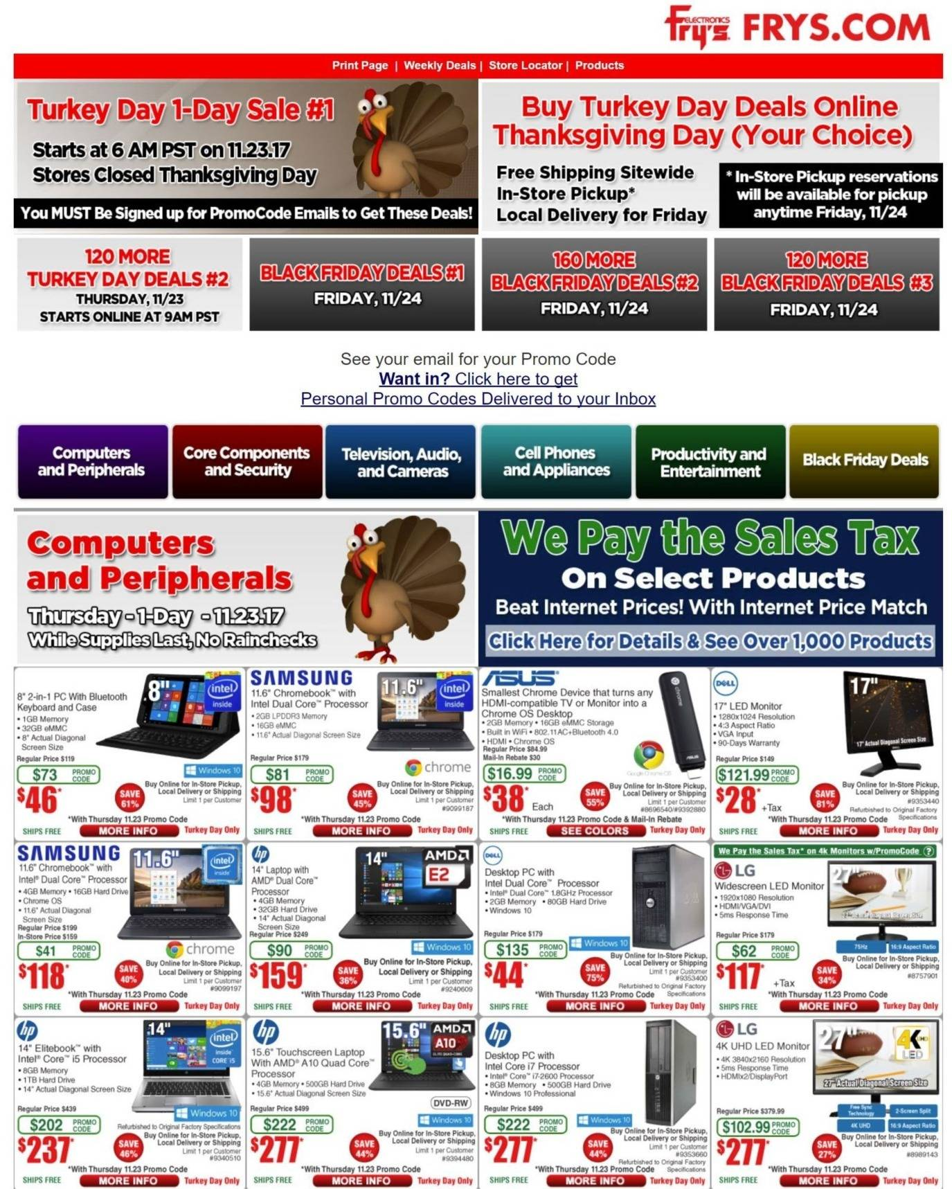 Frys Electronics 2017 Black Friday Ad Page 1