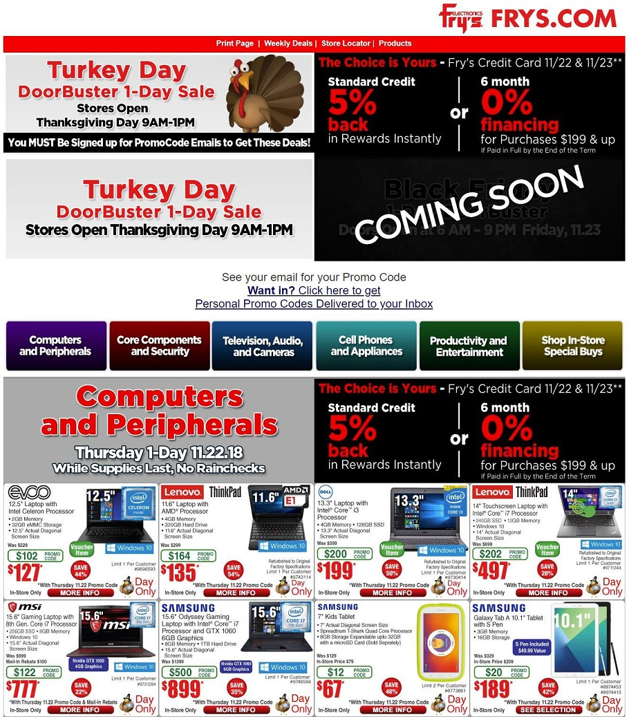 Frys Electronics 2018 Black Friday Ad Page 1