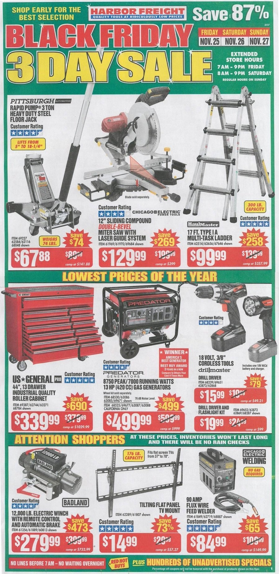 Harbor Freight Tools 2016 Black Friday Ad Page 1
