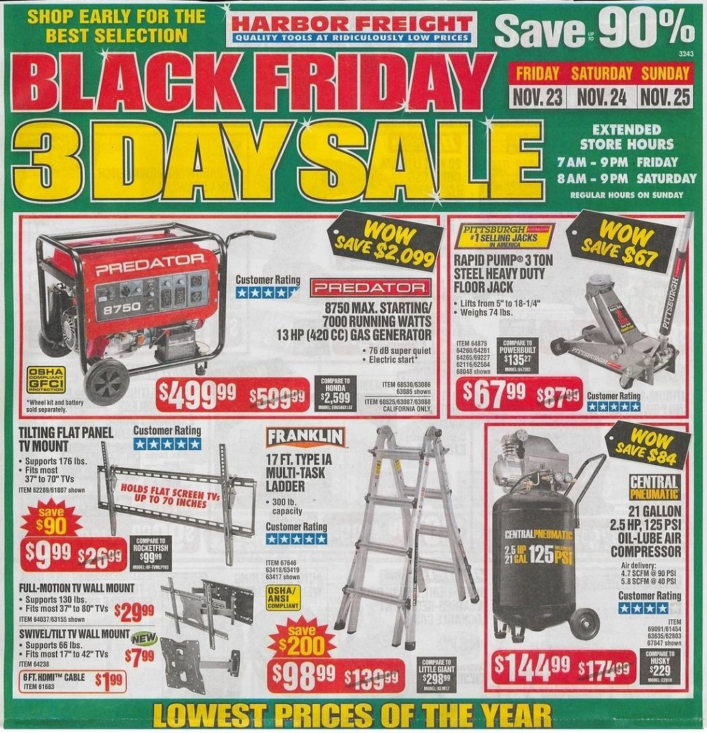 Harbor Freight Tools 2018 Black Friday Ad Page 1