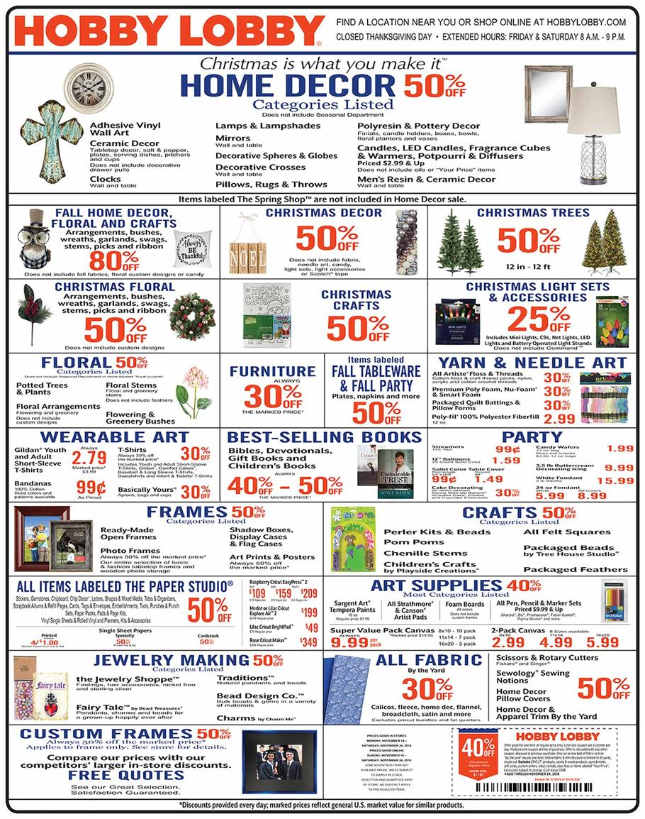 Hobby Lobby 2018 Black Friday Ad Page 1