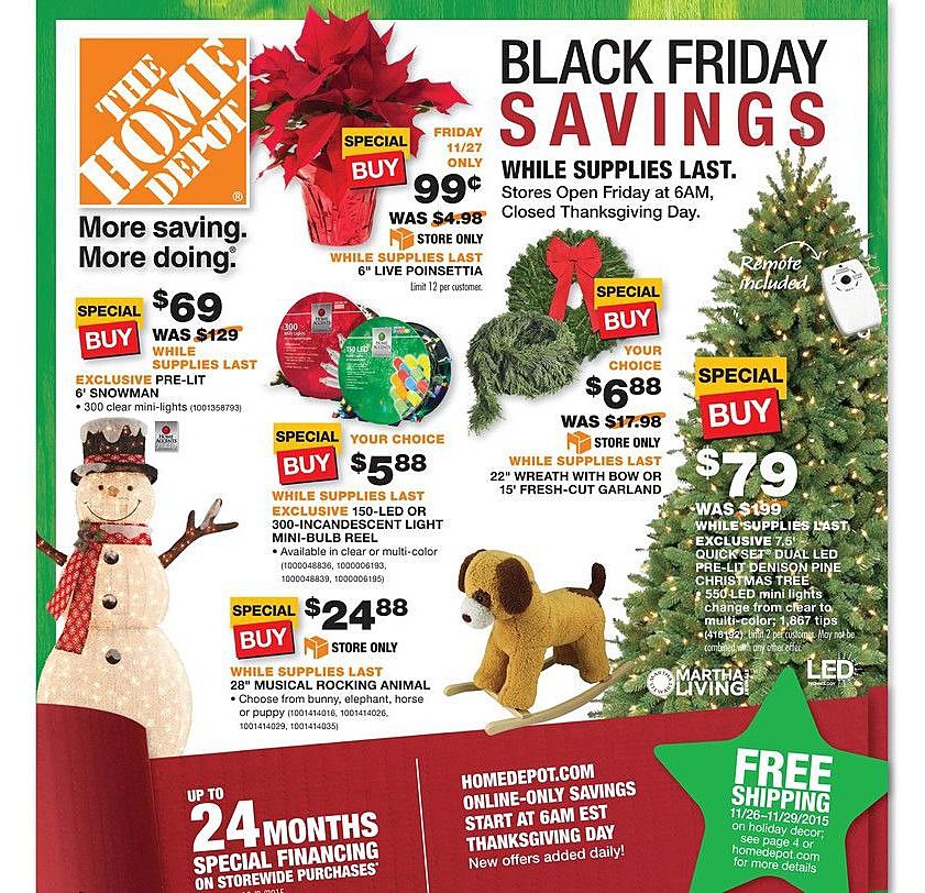 The Home Depot 2015 Black Friday Ad Page 1