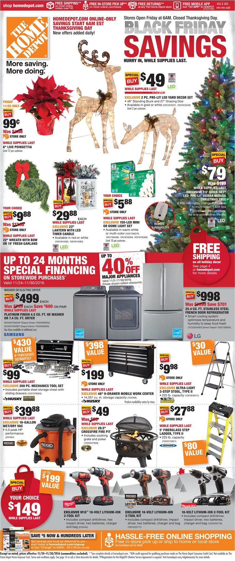 The Home Depot 2016 Black Friday Ad Page 1