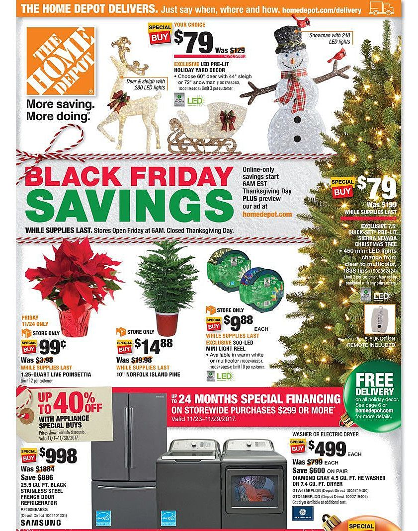 The Home Depot 2017 Black Friday Ad Page 1