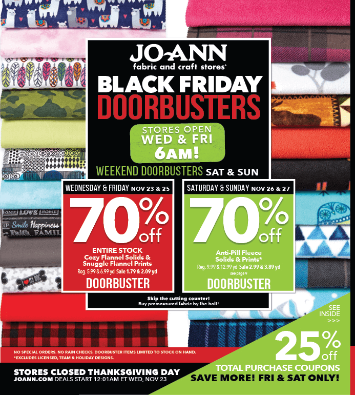 Jo-Ann Fabric and Craft Stores 2016 Black Friday Ad Page 1