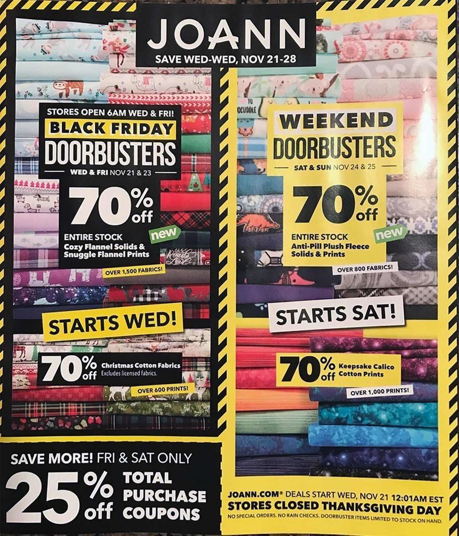 Jo-Ann Fabric and Craft Stores 2018 Black Friday Ad Page 1