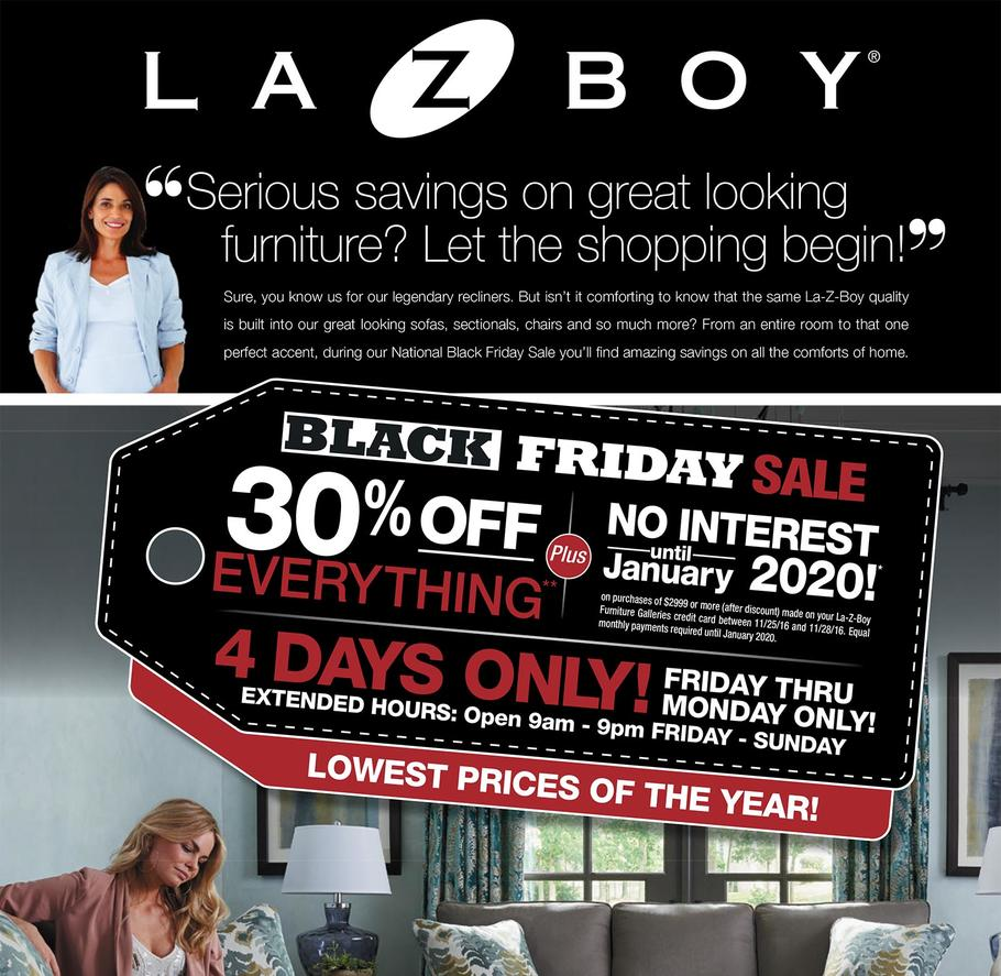 La-Z-Boy 2016 Black Friday Ad Page 1