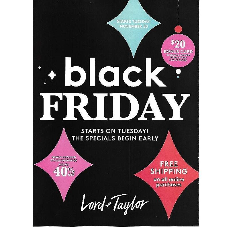 Lord & Taylor 2018 Black Friday Ad Page 1