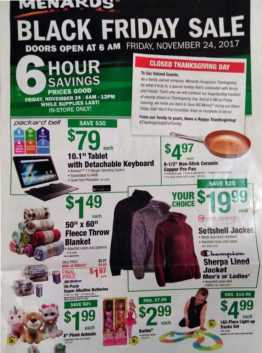 Menards 2017 Black Friday Ad Page 1