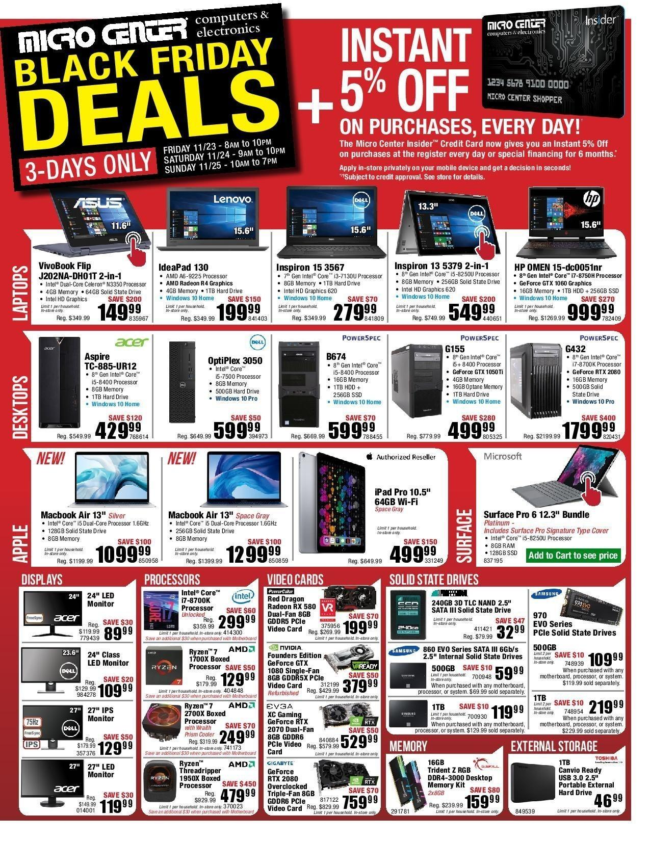Micro Center 2018 Black Friday Ad Page 1