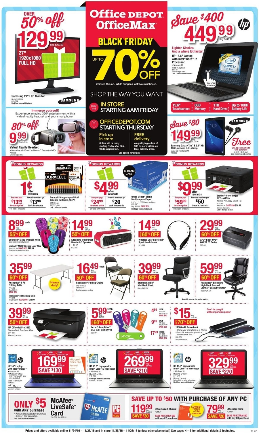Office Depot 2016 Black Friday Ad Page 1