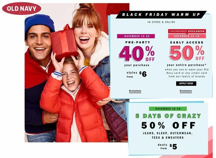 Old Navy 2018 Black Friday Ad Page 1