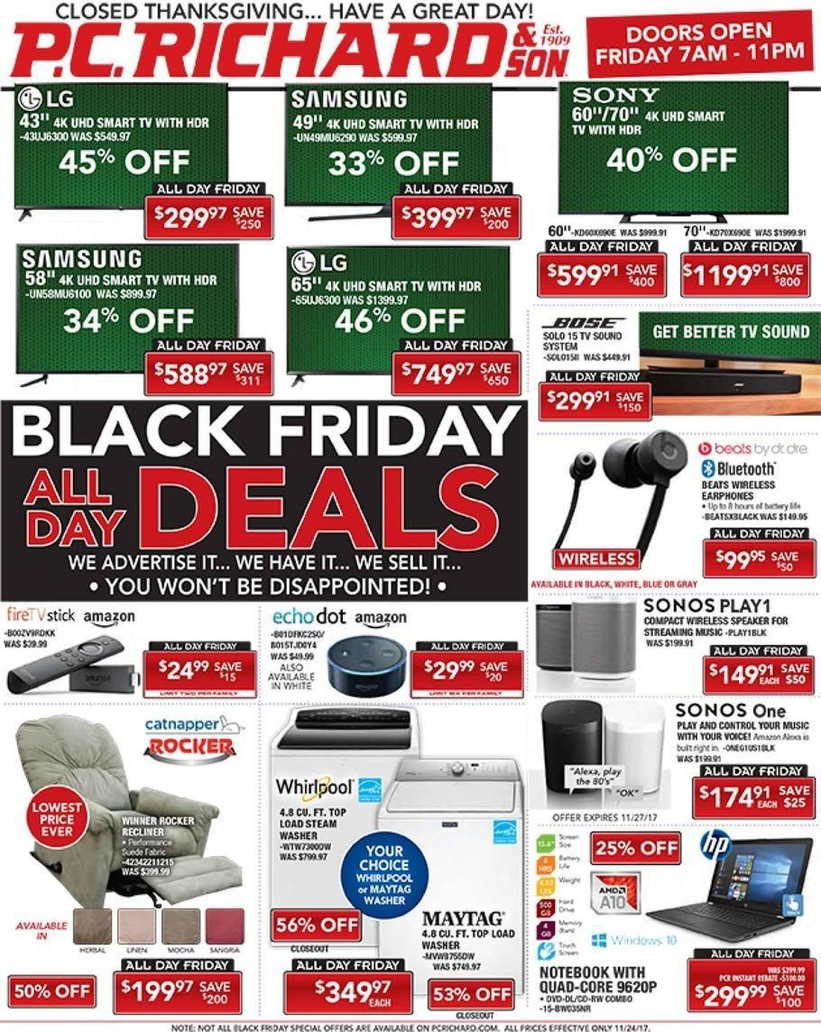 PC Richard & Son 2017 Black Friday Ad Page 1