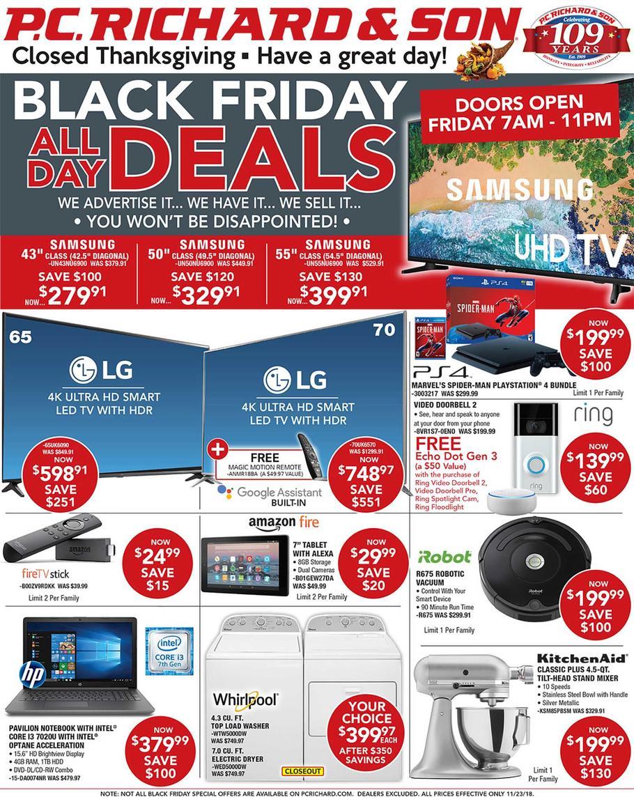 PC Richard & Son 2018 Black Friday Ad Page 1