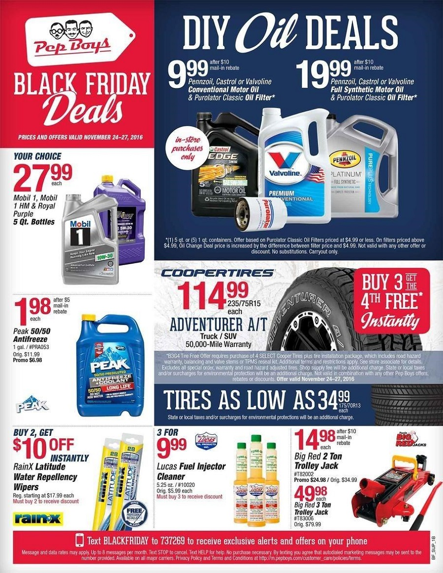 Pep Boys 2016 Black Friday Ad Page 1