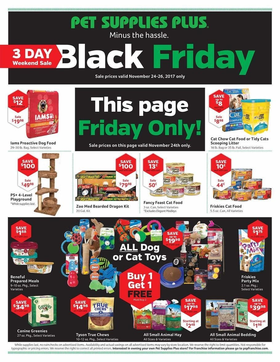 Pet Supplies Plus 2017 Black Friday Ad Page 1