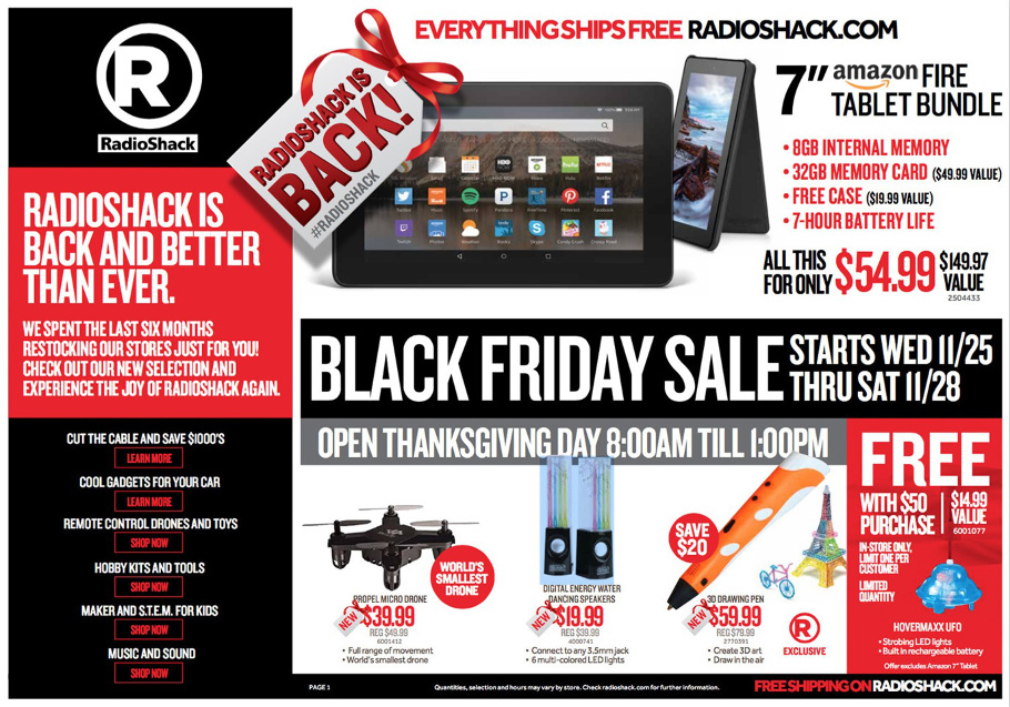 RadioShack 2015 Black Friday Ad Page 1