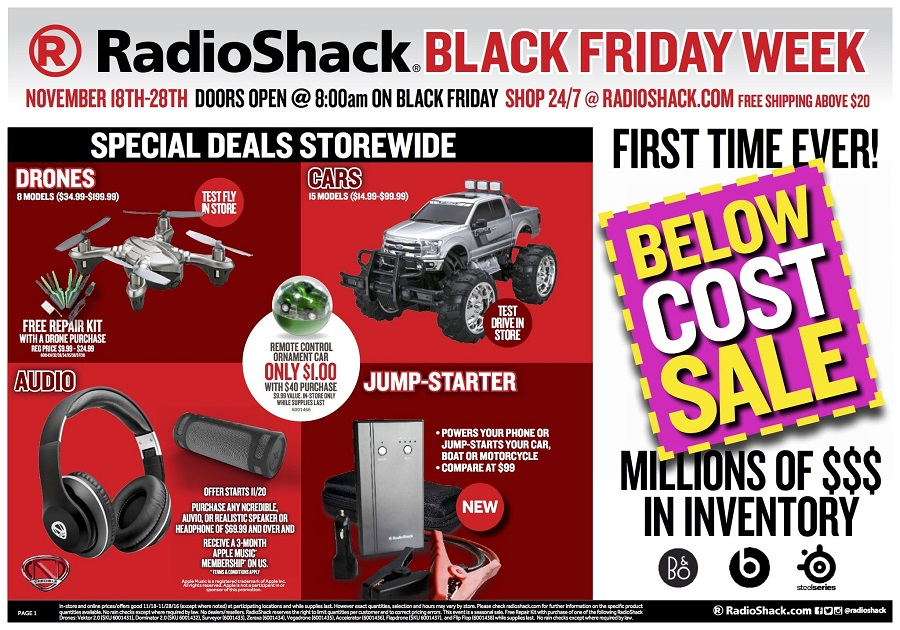 RadioShack 2016 Black Friday Ad Page 1