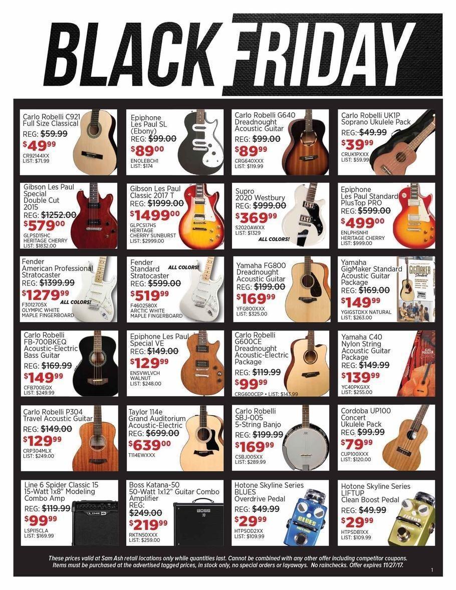 Sam Ash 2017 Black Friday Ad Page 1