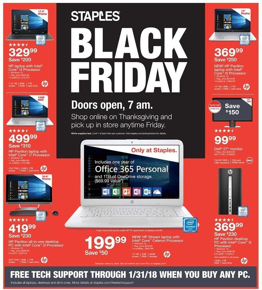 Staples 2017 Black Friday Ad Page 1