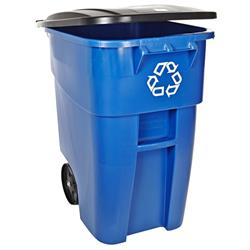 Rubbermaid Commercial FG9W2773BLUE BRUTE Heavy-Duty Rollout Waste/Utility Container