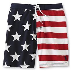 U.S. Polo Assn. Men's American Flag Swim Shorts