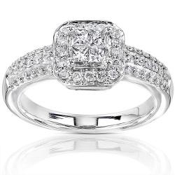 Annello 14k Gold 1/2ct TDW Princess-cut Diamond Halo Engagement Ring