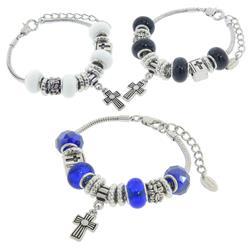 Eternally Haute Murano Style Glass Cross Charm Bracelet