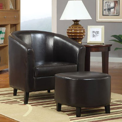 Coaster Home Furnishings 900240 Vinyl Accent Chair with Ottoman