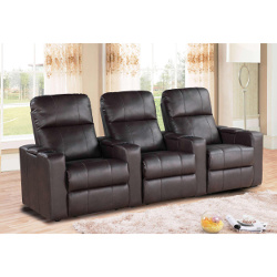 Abbyson Living Parker 3-piece Leather Straight Row Home Theater Seating Set
