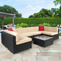 Best Choice Products 7 Piece Outdoor Patio Garden Furniture Wicker Rattan Sectional Sofa Set
