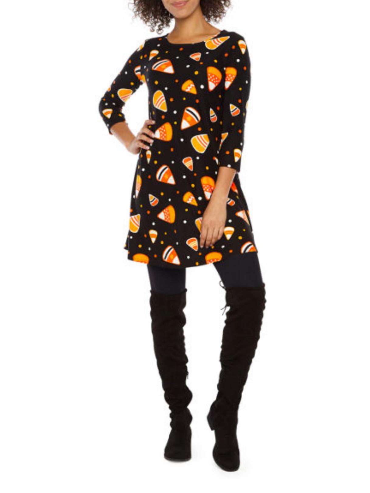 St. John's Bay 3/4 Sleeve Halloween Swing Dress - Black Candy Corn