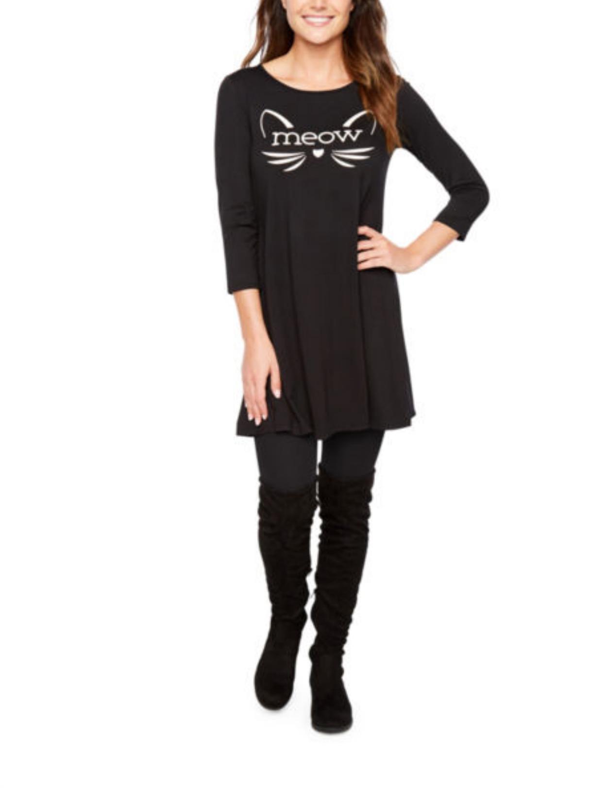 St. John's Bay 3/4 Sleeve Halloween Swing Dress - Black Meow