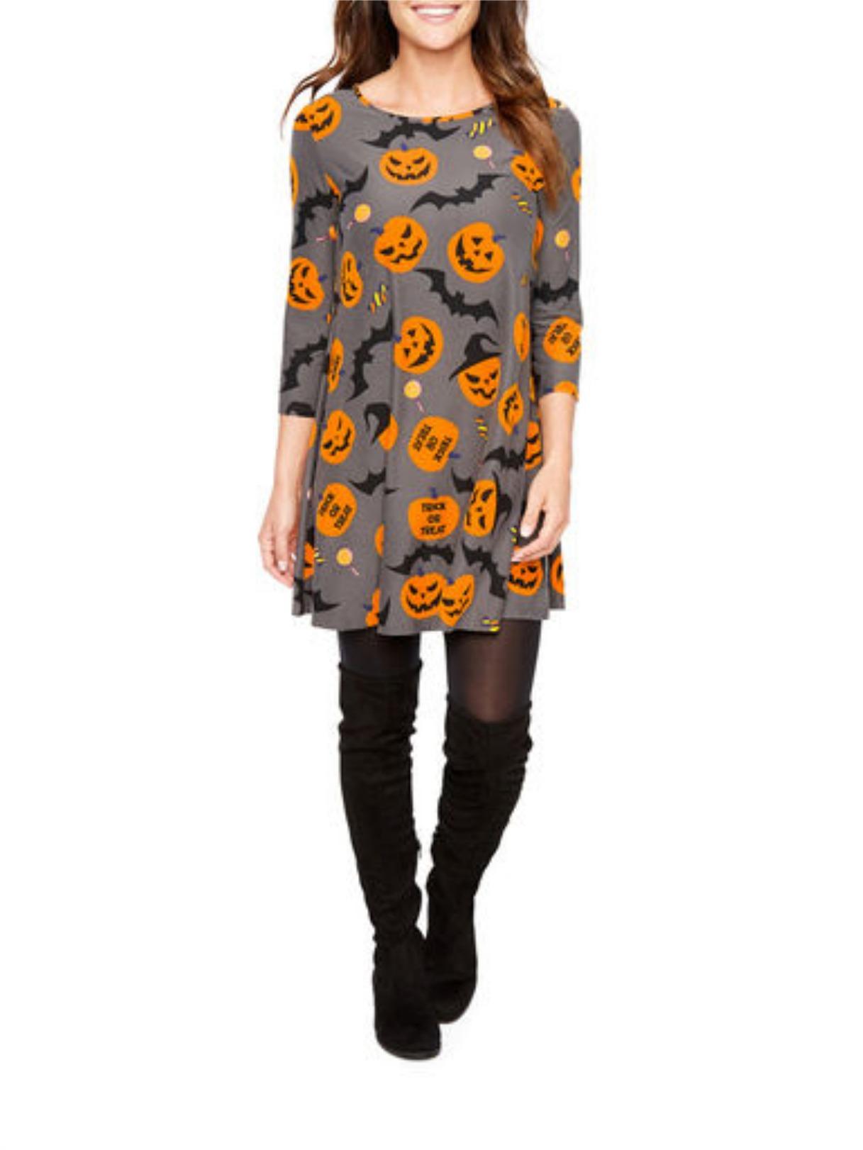 St. John's Bay 3/4 Sleeve Halloween Swing Dress - Gray Trick O Treat