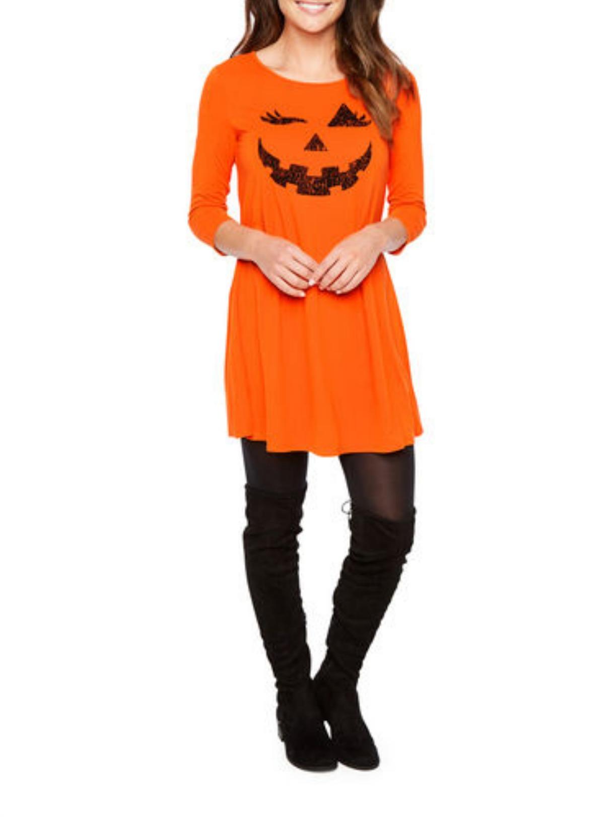 St. John's Bay 3/4 Sleeve Halloween Swing Dress - Orange Pumpkin