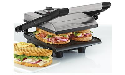 Bella Brushed Stainless Steel Panini Grill