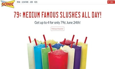 Sonic Drive-In: Medium Famous Slushes on June 24 only $0.79